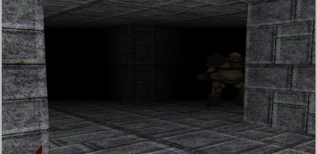 Landmark ogre hiding in single-unit hallway.